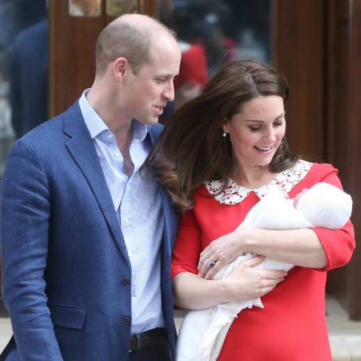 "Prince William and Kate gaze adoringly at their son, who arrived at 11:01am on April 23. Before leaving the hospital, the couple shared the following note via social media: ""Their Royal Highnesses would like to thank all staff at the hospital for the care and treatment they have received. They would also like to thank everyone for their warm wishes.""