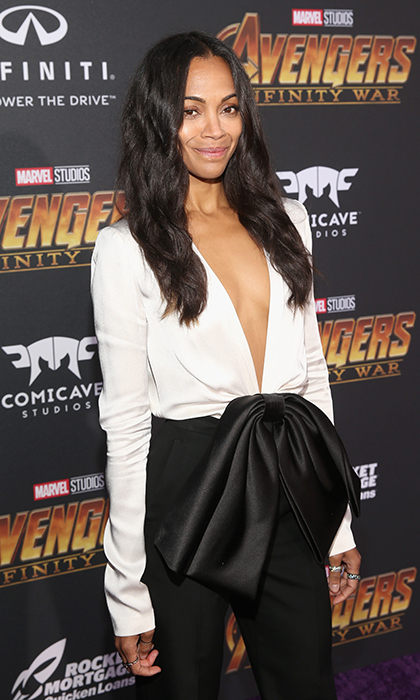 <p>Zoe Saldana stunned in a black-and-white jumpsuit while at the premiere.</p>