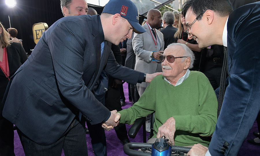<p>Marvel Studios president and producer Kevin Feige shook hands with famed comic book writer, Stan Lee.</p>