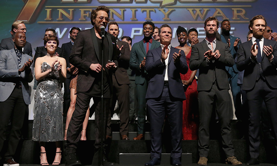 <p>Robert Downey Jr, backed by the rest of the <em>Avengers</em> cast, addressed the crowd.</p>