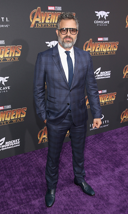 <p>Mark Ruffalo oozed cool in a navy suit and gradient sunnies.</p>