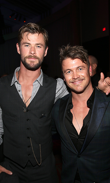 <p>Brotherly love! Chris and Luke Hemsworth embraced at the premiere's after party.</p>