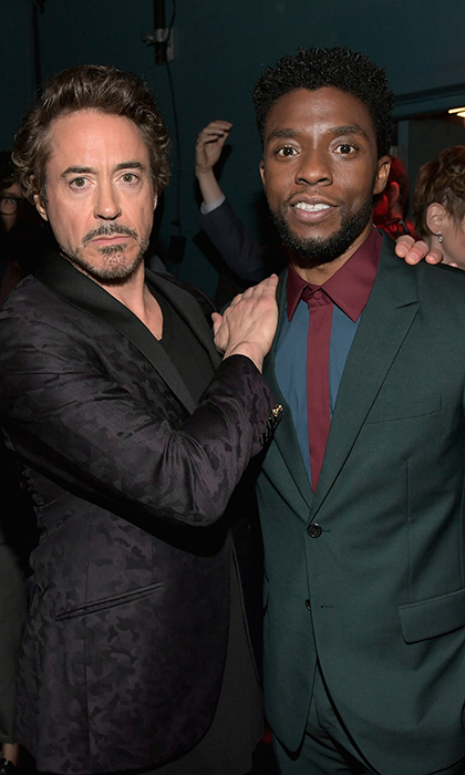 <p>Robert Downey Jr posed for a photo with <em>Black Panther</em> star Chadwick Boseman.</p>