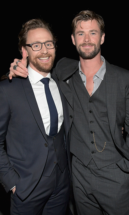 <p>Marvel co-stars Tom Hiddleston and Chris Hemsworth stopped for a quick photo, too.</p>