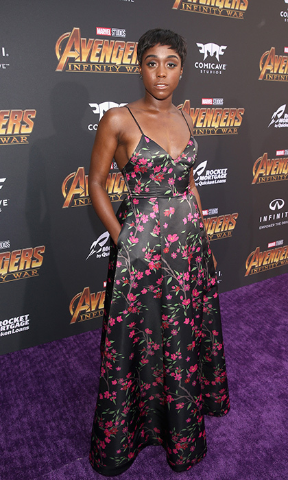 <p><em>Captain Marvel</em> star Lashana Lynch stunned in a black-and-pink floral gown.</p>