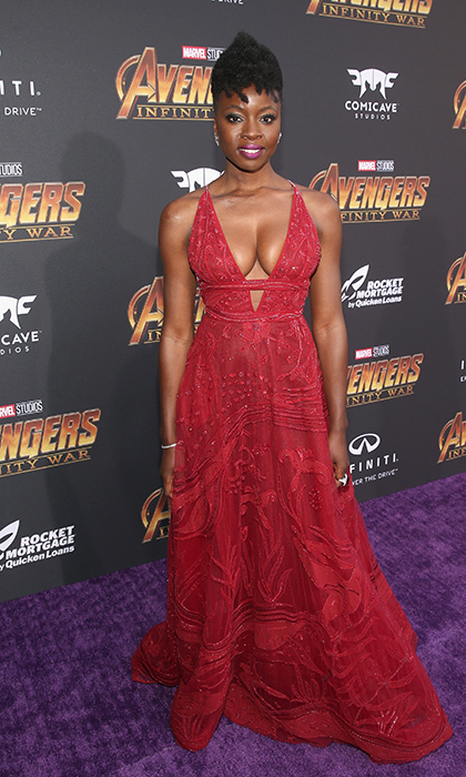 <p>Danai Gurira owned the carpet in this ornate red gown.</p>