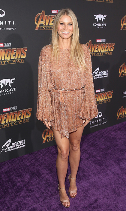 <p>A week after celebrating her impending marriage at a star-studded engagement party, Gwyneth made an appearance at the premiere in this stunning bronze minidress.</p>