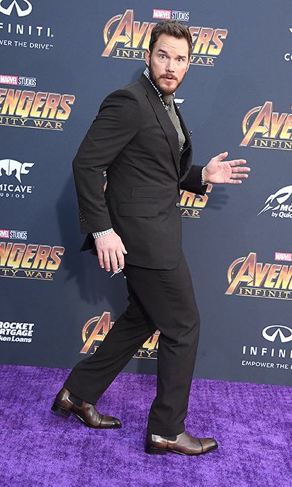 <p>Trust Chris Pratt to keep the carpet a little goofy! The actor showed off his funny side before posing for some photos with Evangeline Lilly.</p>