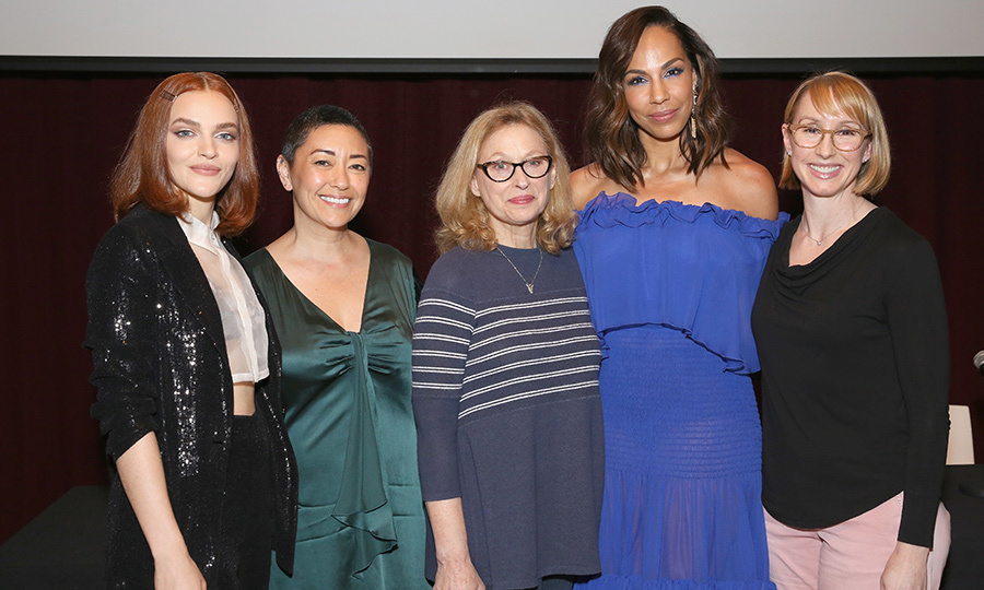 <p>Actress Madeline Brewer, costume designer Ane Crabtree, Women in Film executive director Gayle Nachlis, actress Amanda Brugel and executive producer Kira Snyder all attended Hulu's <em>The Handmaid's Tale</em> Women in Film panel on April 23.</p>