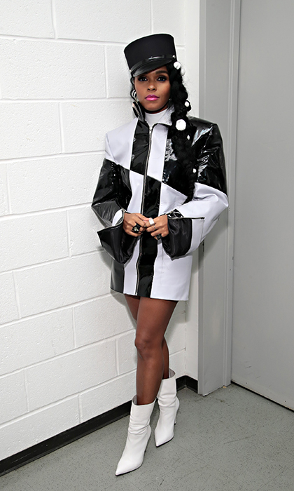 <p>Ever the trend-setter, recording artist Janelle Monae stunned in this black-and-white ensemble at the release of her latest album <em>Dirty Computer</em> on April 23.</p>