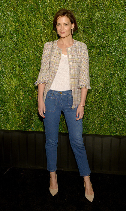 <p>Katie Holmes looked chic at the Chanel Tribeca Film Festival dinner on April 23. The star, of course, was wearing Chanel!</p>