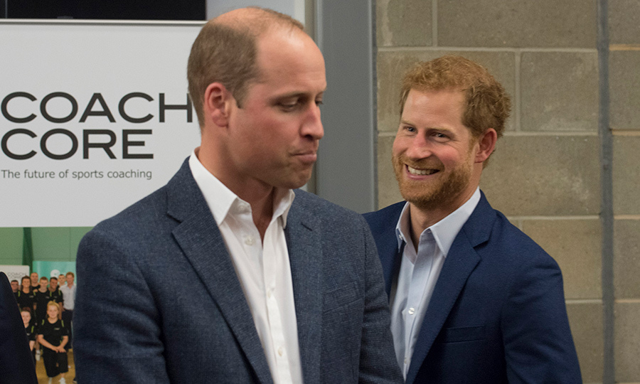 <p>What's so funny, Harry? The royal ribbed his older brother at a Coach Core charity event in 2017.</p>