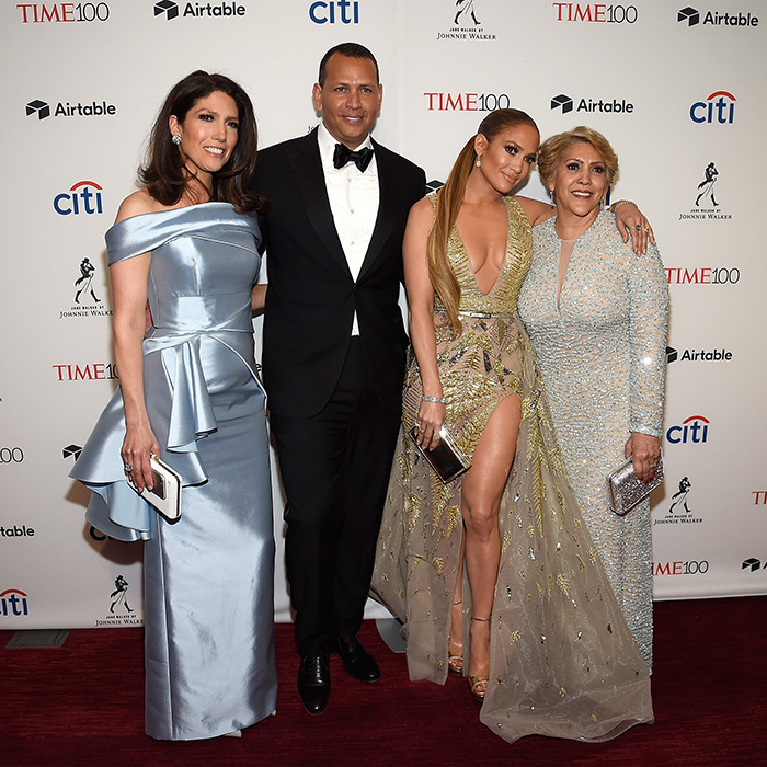 <p>The Time 100 Gala red carpet was a family affair for the Lopez clan! Jennifer stunned in a high-slit gown alongside her mom, Guadalupe, and her sister, Lynda. Nestled between the ladies was the singer's beau, Alex Rodriguez.</p>