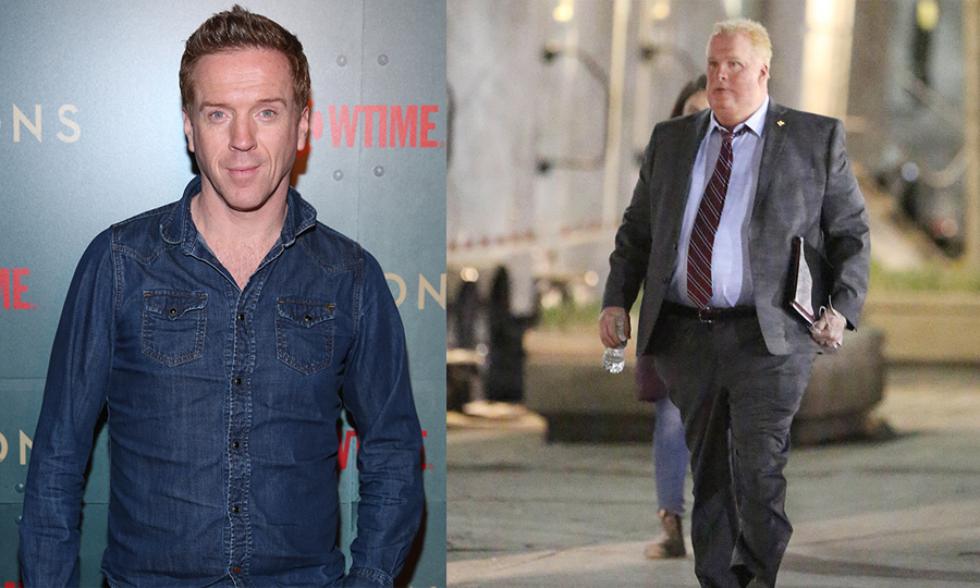 <p>It's Damian Lewis! The <em>Homeland</em> star is barely recognizable in his Rod Ford make-up and costume for his new role as the late Toronto mayor in <em>Run This Town</em>. The whole ensemble reportedly took seven hours to complete!</p>