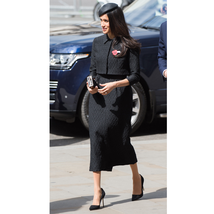 <p>For her second look of the day, while attending the ANZAC Day Memorial service, Meghan donned a chic Emilia Wickstead 'Bespoke' black dress. The royal-to-be accessorized with her favourite Manolo Blahnik BB pumps, Jimmy Choo 'J Box' clutch and a sweet black beret.</p>