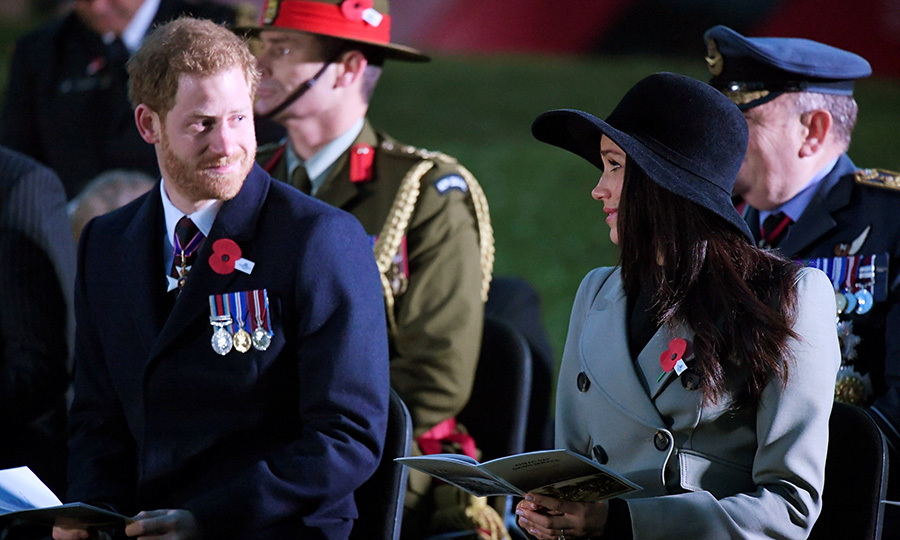 <p>The look that says it all. As an emotional Prince Harry turned toward his his future bride during the Dawn Service at Wellington Arch to commemorate Anzac Day on April 25, she tenderly met his gaze. Harry laid a wreath at the somber gathering, held in honor of Australian and New Zealanders who have lost their lives in battle.</p>