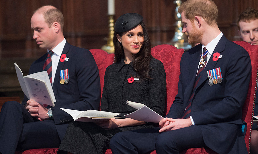 <p>Meghan Markle and Prince Harry smiled at each other while attending a commemoration service to mark Anzac Day in Westminster Abbey on April 25.</p>
