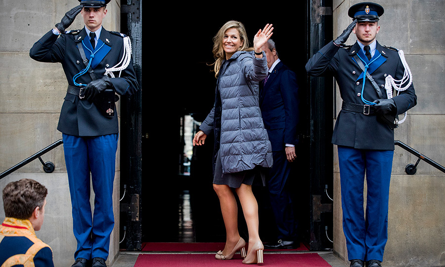 <p>Queen Maxima waved to the crowd while arriving at the Royal Palace Amsterdam on April 24.</p>