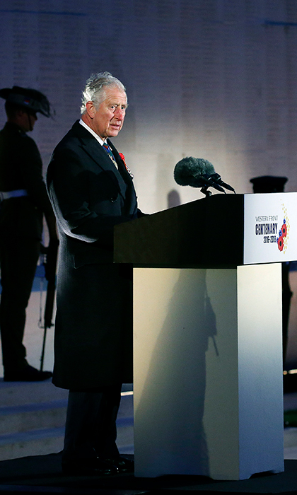 <p>Prince Charles delivered a speech during the ceremony of the Centenary of the Battle of Villers-Bretonneux at the Australian National Memorial on April 25.</p>