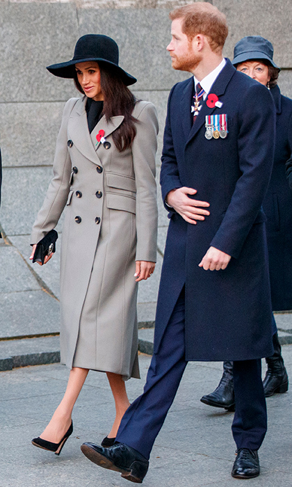 <p>Meghan Markle and her fiancé Prince Harry stepped out for the first time on April 25 to attend an Anzac Day dawn service at Hyde Park Corner.</p>