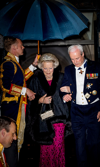 <p>Princess Beatrix was the picture of glamorous in her tiara while leaving the Royal Palace Amsterdam on April 24.</p>