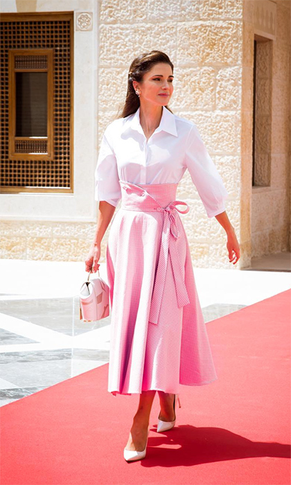 <p>Queen Rania of Jordan dazzled in this white and pink ensemble while visiting Al Husseiniya Palace.</p>