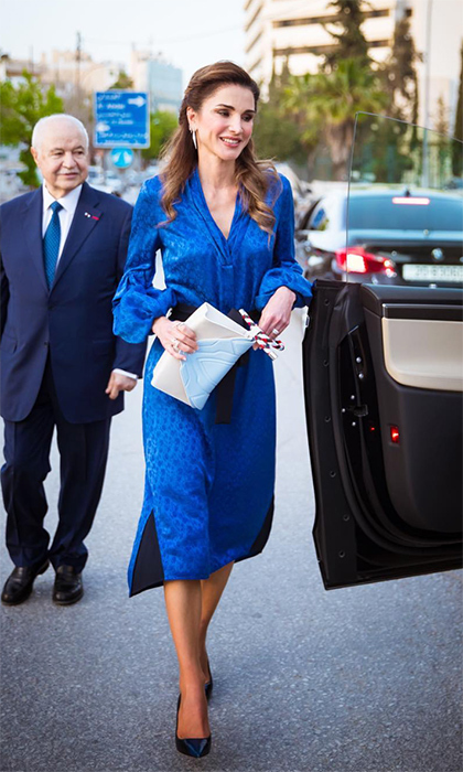 "<p>A royal in royal blue! The Queen of Jordan was all smiles while visiting Fareed Fakhriddin's exhibit ""Tarjamat,""a collection of beautiful art inspired by the late Mahmoud Darwish's poetry.</p>