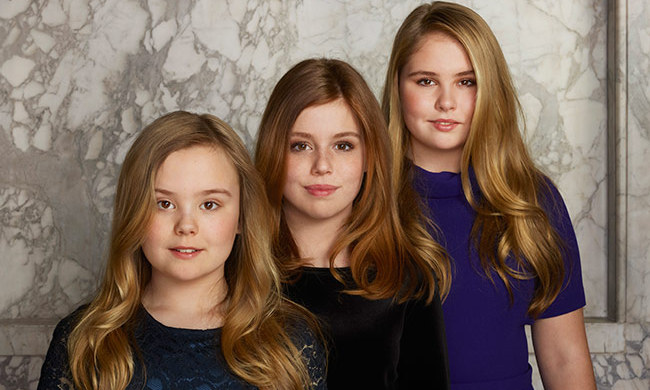 The couple's three daughters - 14-year-old Princess Catharina-Amalia, the future queen of the Netherlands, 12-year-old Princess Alexia and 11-year-old Princess Ariane, 11 - posed together in pretty dresses to celebrate their father's royal milestone. 