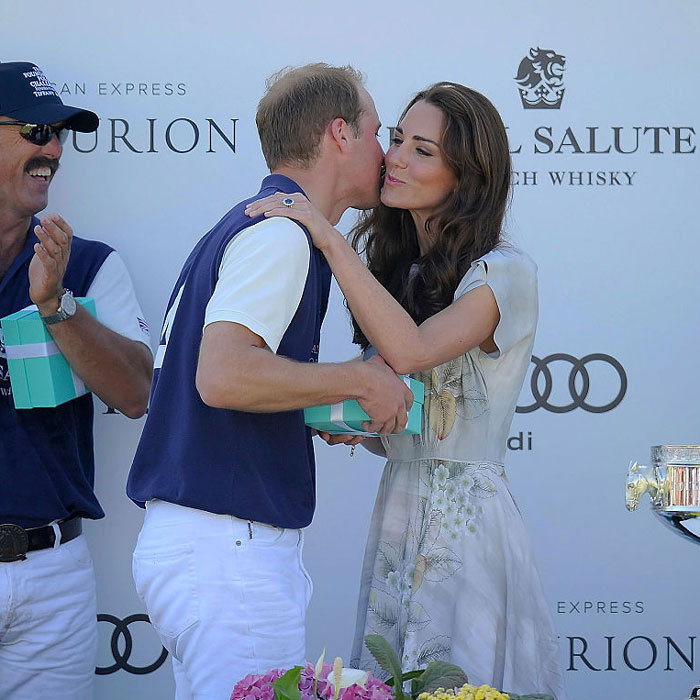 Prince George's parents shared a rare, public kiss in Santa Barbara, California during their 2012 visit. Kate congratulated her husband with a peck on the cheek after he played in the Audi Polo Challenge.