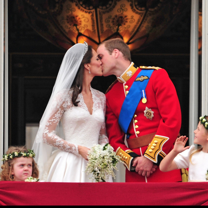 The kiss seen around the world! The newly minted Duke and Duchess of Cambridge sealed their marriage with a public kiss on the balcony of Buckingham Palace following their 2011 royal wedding.