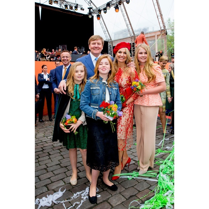 Cheers to the birthday boy! King Willem-Alexander of the Netherlands turned 51 on April 27 and celebrated in style along with his wife, Queen Maxima, and three daughters. The monarch and his wife looked dapper as ever, he in a blue suit and she in a semi-sheer red patterned dress with matching pumps and a jaunty beret. 