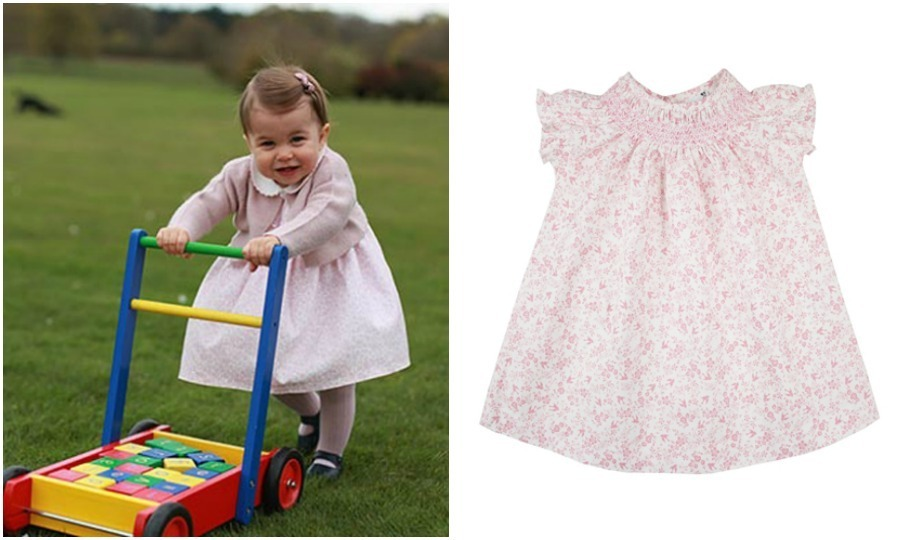 For her first birthday, Duchess Kate put Charlotte in two dresses from Spanish retailer m&h. In the photo shot outdoors, the one-year-old held on as she walked the grounds in a pink floral dress that costs around $40 with a cardigan from the same designer. The little Princess also wore shoes from Early Days and ribbed tights from Amaia Kids.