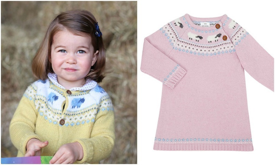 For her second birthday portrait, released on May 1, 2017, Kate Middleton's daughter wore a yellow and blue Fair Isle knit cardigan from John Lewis. And in true royal fashion, the sweater quickly sold out. The dress version sold for $25.