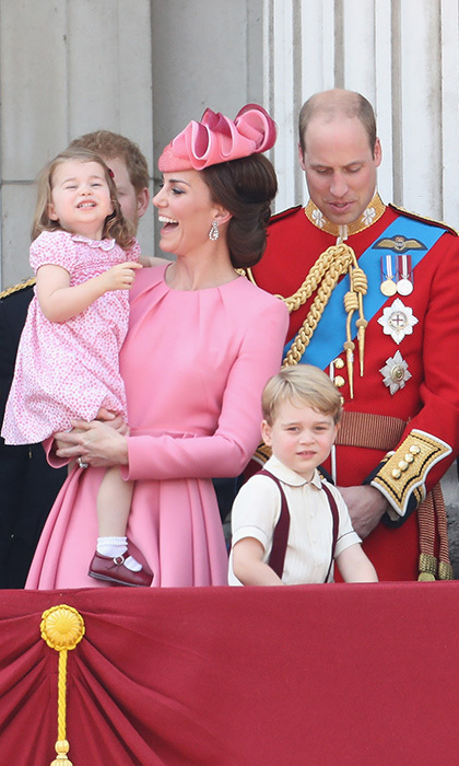 The Duchess of Cambridge often turns to lesser-known Spanish boutique brands for her kids' clothing and hand-me-downs, in part thanks to her Spanish nanny Maria Teresa Turrion Borrallo's influence. Charlotte paired this pretty pink floral dress with white socks, burgundy Mary Jane shoes and one of her signature hair bows.