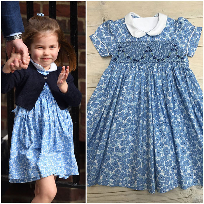 It was an exciting day for the adorable two-year-old as she arrived at St Mary's Hospital on April 23 to meet her baby brother. The brand-new big sister was dressed for the occasion in a blue, hand-smocked Little Miss Alice floral dress with a Peter Pan collar, short sleeves and a sweet sash tie. The London-based brand is owned by Kate's Marlborough College school friend, Alice Avenel. On her website, the dress is priced at £40 ($70) for babies six months and goes up to £45 ($80) for children up to six years old. And like her mom, the outfit quickly sold out after Charlotte arrived at the Lindo Wing with her dad and brother.