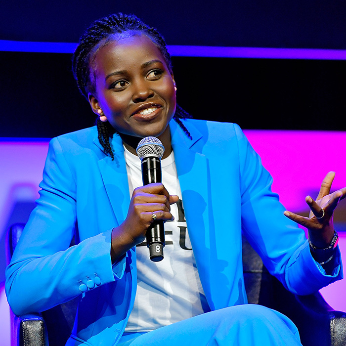 Lupita Nyong'o stunned in bright blue while speaking on a Time's Up panel at the Tribeca Film Festival.