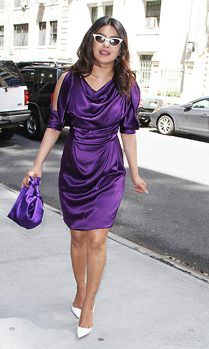 <p>Ever the fashion  maven, Priyanka Chopra was pretty in purple Vivienne Westwood on May 2, and wore some sleek '90s shades to seal the sartorial deal.</p>