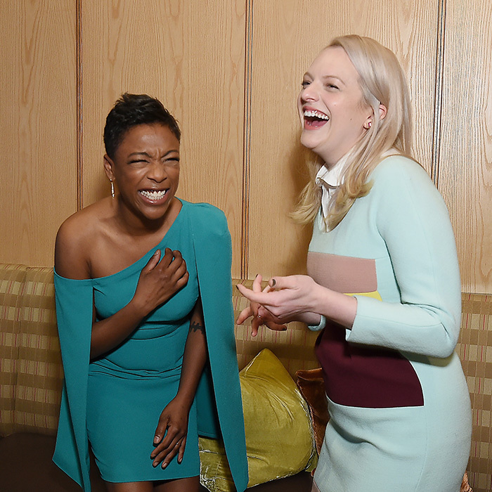 <p><em>The Handmaid's Tale</em> stars Samira Wiley and Elisabeth Moss were laughing up a storm – and looking amazing while doing it! The two were on hand at a Hulu event in New York on May 2.</p>