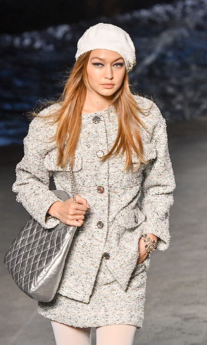 <p>Bella's sister, Gigi Hadid, was there as well, of course! She donned a grey ensemble for the Chanel show.