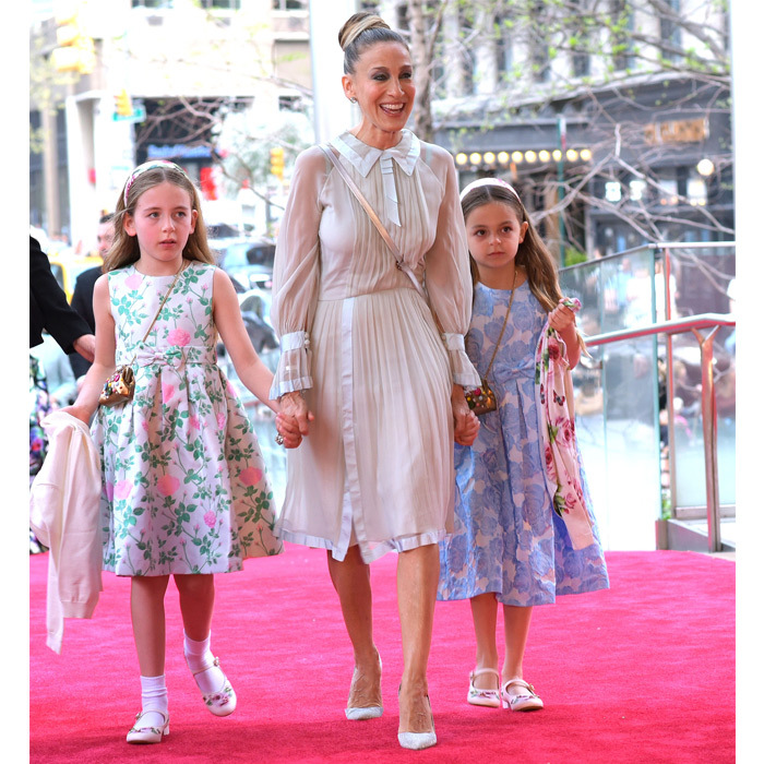 <p>Sarah Jessica Parker and her eight-year-old twins daughters, Marion and Tabitha, looked ready for spring at the New York City ballet spring gala on May 3.