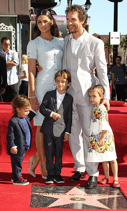 <p>We love how Matthew McConaughey and his sons were all in suits the day he got his star! The actor was joined by wife Camila Alves McConaughey and their children, Levi, Livingston and Vida, in November 2014.</p>