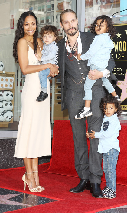 <p>Ashton Kutcher and Mila Kunis may have been on hand for the ceremony, but the true stars of Zoe Saldana's celebration were her three boys - twins Cy and Bowie, three, and 16-month-old Zen. The actress's husband Marco Perego was also there to honour his leading lady!</p>