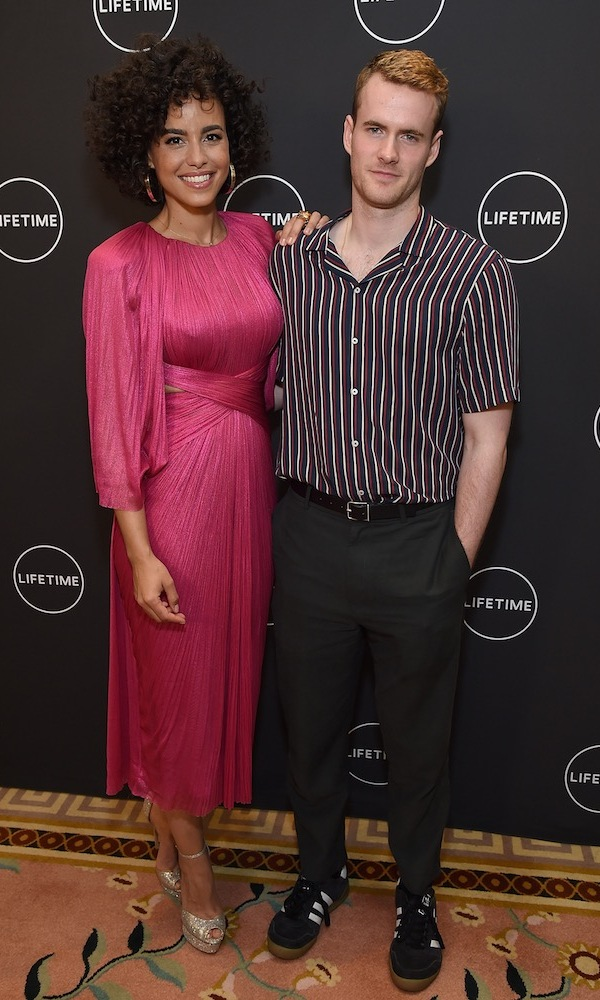 Parisa Fitz-Henley and Murray Fraser, who play Meghan Markle and Prince Harry in Lifetime's <em>Harry and Meghan: A Royal Romance</em>, were on hand for an afternoon tea and screening of the highly anticipated movie at the Peninsula Hotel in Beverly Hills on May 3. The actress stunned in a pink dress by Maria Lucia Hohan, while her dashing costar paired a striped shirt with black pants and Adidas sneakers.  