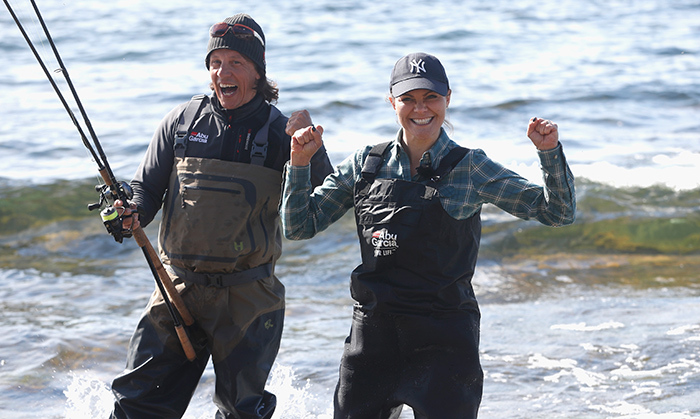 Ready to catch supper! Crown Princess Victoria of Sweden definitely shares her country's love of the great outdoors. The future monarch is on a discovery mission throughout Sweden to experience nature in all its various forms. Here, she waded into the water at Gotland, Sweden's Hall-Hangvar Nature Reserve on May 4 for a spot of fishing.