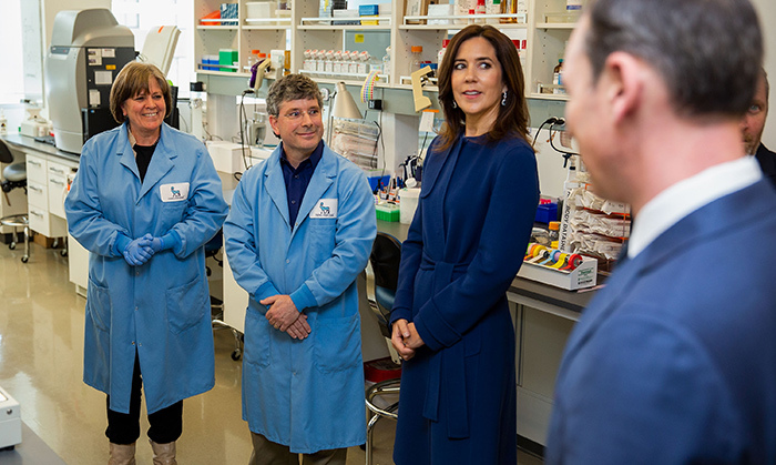 Crown Princess Mary got a lesson in access to care for people with obesity while visiting the Novo Nordick Research Center in Seattle, where she's been exploring Danish culture. Here, she speaks with technical scientist Anitra Wolf and principal research scientist Jason O'Neil on May 4.