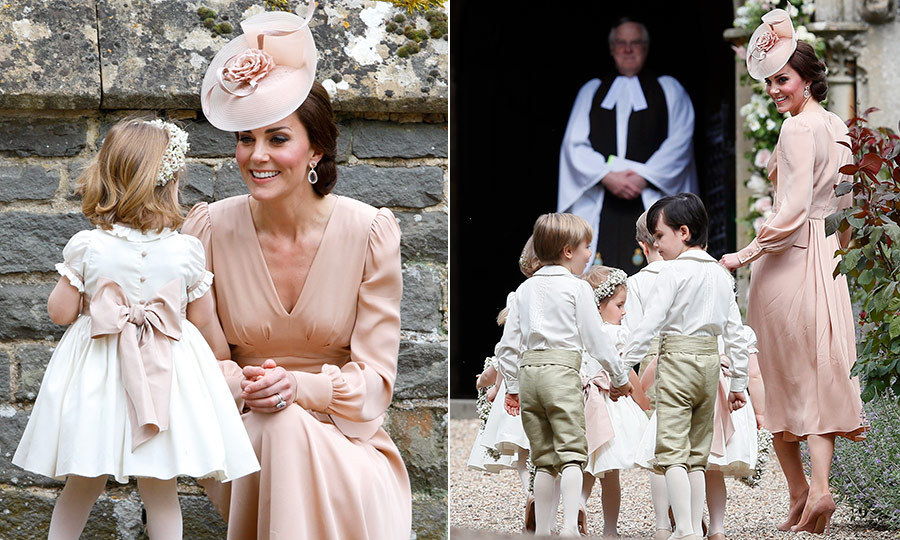 At her sister Pippa Middleton's May 2017 wedding to James Matthews at St Mark's Church in Englefield, England, the Duchess of Cambridge played a supportive role rounding up the young attendants. The royal wore a pink dress by Alexander McQueen in a shade that matched the sashes on the sweet dresses worn by the flower girls, including Kate's daughter Princess Charlotte.