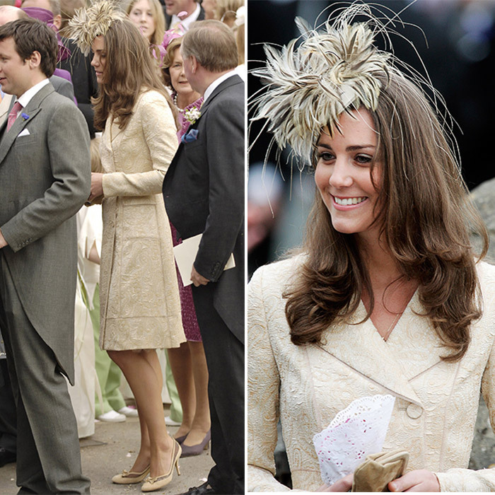 In May 2006, the future Duchess of Cambridge was a guest at boyfriend Prince William's stepsister's wedding, where she wore the same Day Birger et Mikkelsen coatdress she donned years later for Zara's nuptials. For Laura Parker Bowles and Harry Lopes's wedding, though, Kate accessorized with a feathery fascinator instead of a wide-brimmed hat. 