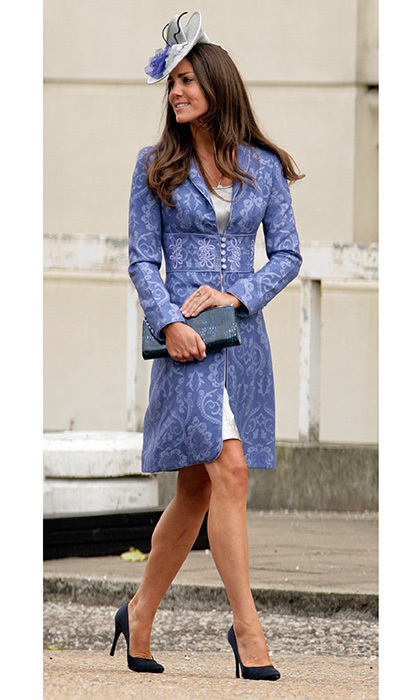 When it comes to her wedding outfits, it's clear Duchess Kate can't resist a beautiful brocade! For Nicholas Van Cutsem and Alice Hadden-Paton's August 2009 nuptials at The Guards Chapel, Wellington Barracks in London, she opted for a cornflower blue coat by Jane Troughton and a grey fascinator. 
