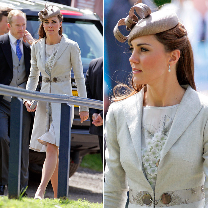 A summer coat worn over a ladylike dress is always a great option. Catherine, Duchess of Cambridge went for a natural look for the wedding of Emily McCorquodale and James Hutt at The Church of St Andrew and St Mary in Grantham, England in June 2012. The royal's floral-print Jenny Packham dress was topped with a linen coat by Katherine Hooker and a woven beret-style hat.