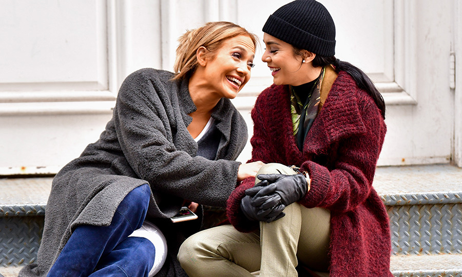 <p>Jennifer Lopez and Vanessa Hudgens are two peas in a pod! The two shared a laugh while filming <em>Second Act</em> in New York on May 6.</p>